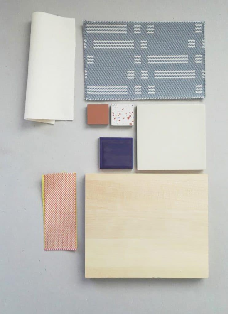 materiaalinäytteitä sisustussuunnitelmasta