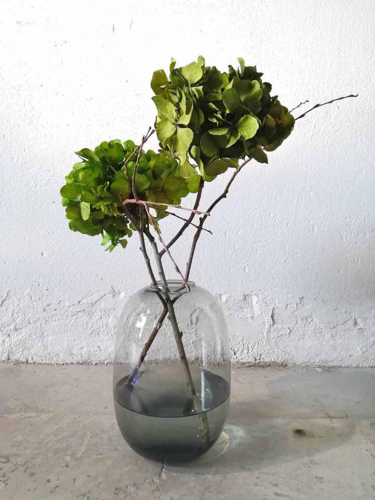 vihreät hortensiat maljakossa